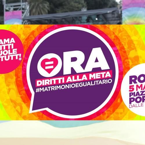 Roma, manifestazione a Piazza del Popolo per le unioni civili
