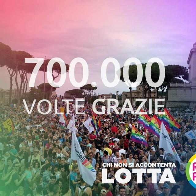 700000 volte grazie pride romapride chinonsiaccontentalotta romapride2016 gay lesbian queerhellip