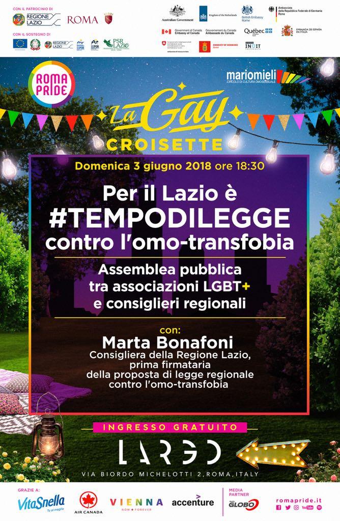 Gay Croisette - ASSEMBLEA PUBBLICA - Per il lazio è #TEMPODILEGGE contro l'omo-transfobia