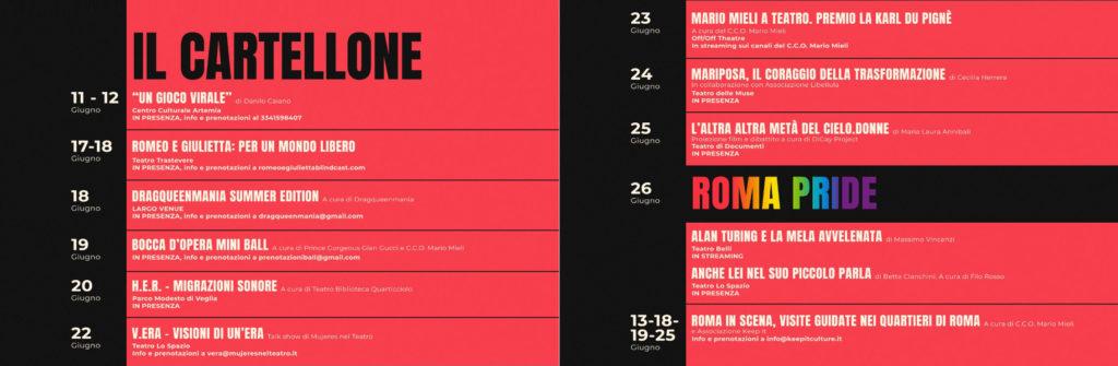 Roma Pride 2021 - Cartellone Eventi
